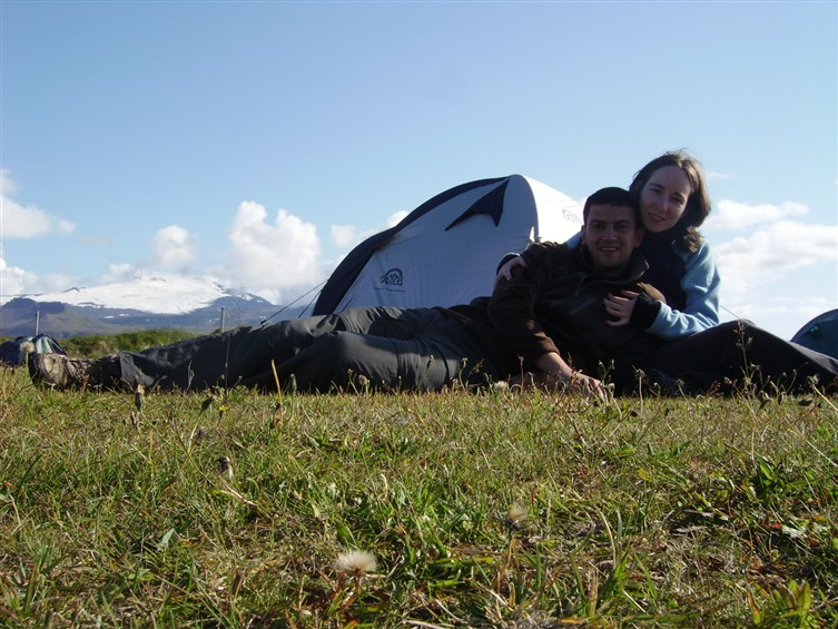 Camp site in Hellissandur and the Snaefellsjokull National Park behind us